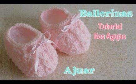 Ajuar dos agujas o palitos: como tejer escarpines o ballerinas