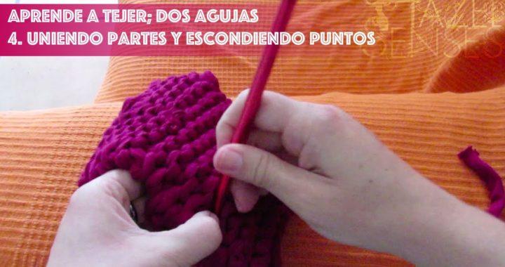 Aprende a tejer; dos agujas. Parte 4 - Uniendo dos lados y escondiendo puntos.