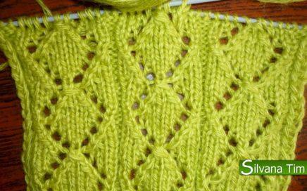 Aprende a tejer muy bonito Punto Rombos Calados. Tutorial de TEJIDO EN DOS AGUJAS / silvana tim # 46