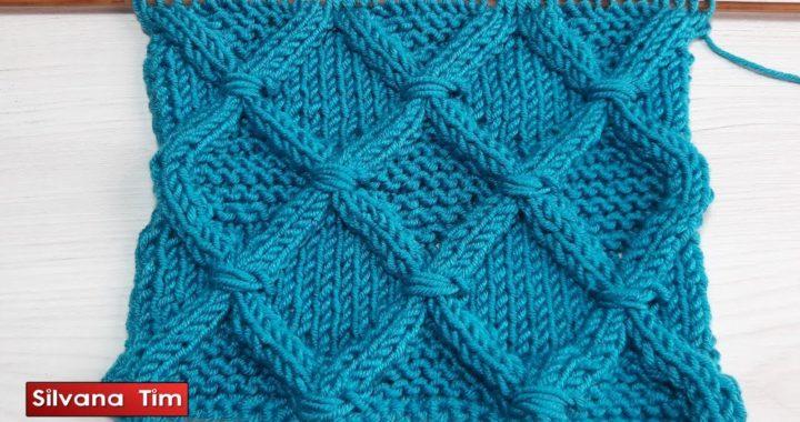 Aprende a tejer punto Rombos Envueltos en Relieve tejidos con dos agujas / Silvana Tim # 698
