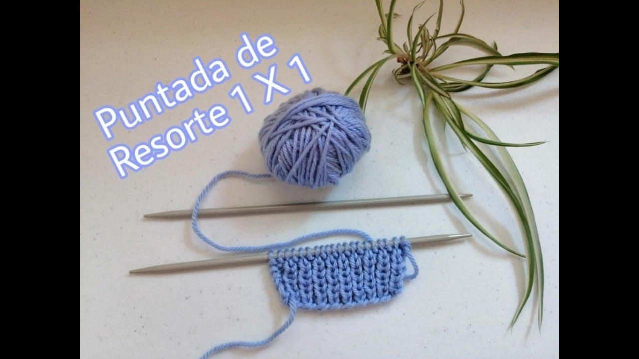 Aprende a tejer resorte sencillo 1 x 1 en dos agujas