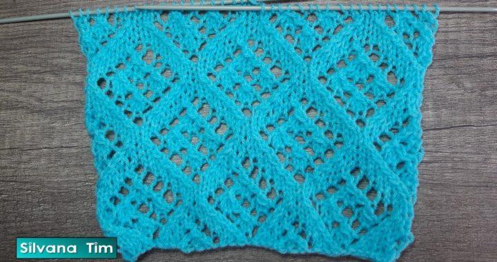 Aprender Punto Calado Rombos para tejer Chaleco, Pulóver, Saco, Chal a dos agujas # 789