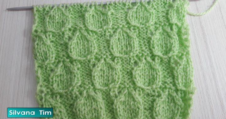Aprender a tejer Punto Hojas Caladas. Tejido con dos agujas # 803