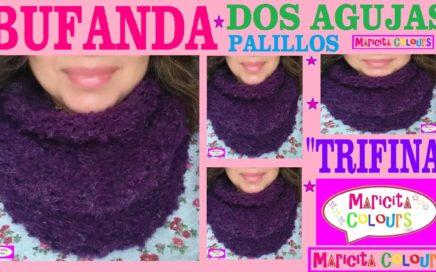 """Bufanda Infinita """"Trifina"""" /Collar Dos Agujas Palillos  (Parte 2) Tutorial por Maricita Colours"""