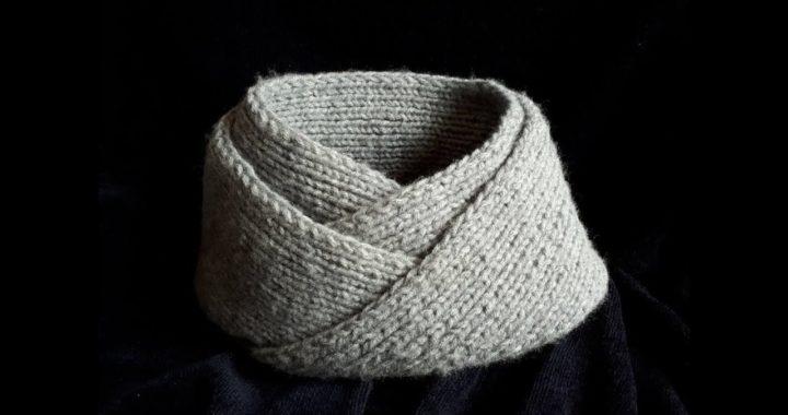 Bufanda para caballero y/o cuello tejido en dos agujas - tutorial para zurdos