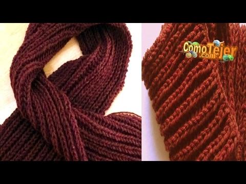 Cómo Tejer BUFANDA para HOMBRE- Knit a Scarf for Men (1/2) 2 agujas (153)