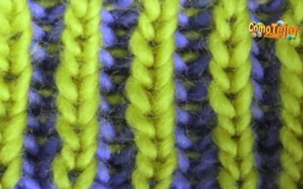 Cómo Tejer Punto INGLÉS REVERSIBLE COLORES -2 Color Brioche Stitch - 2 agujas(496)