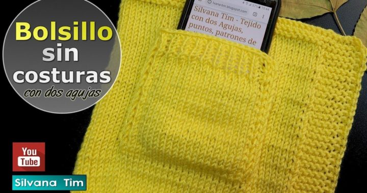 Cómo tejer BOLSILLO sin Costuras. Tejido con dos agujas # 830