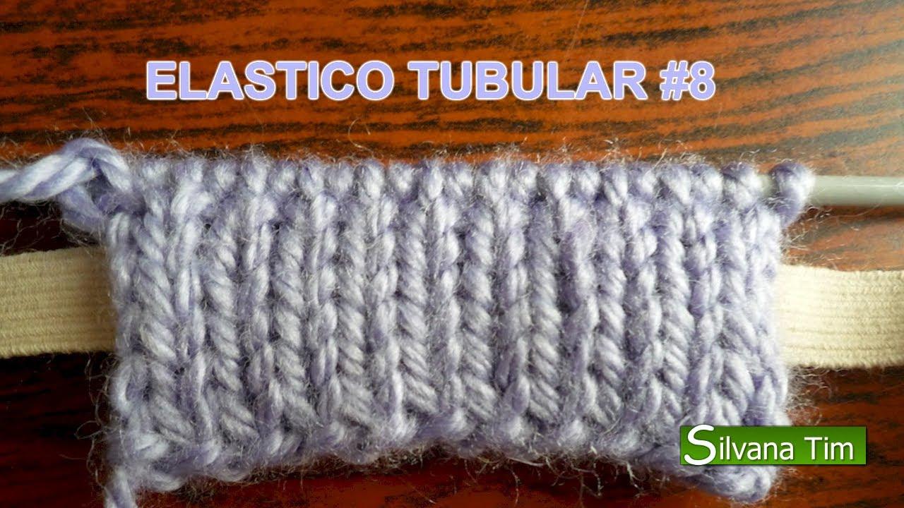 Cómo tejer ELASTICO TUBULAR Técnicas de Tejido con dos Agujas # 8