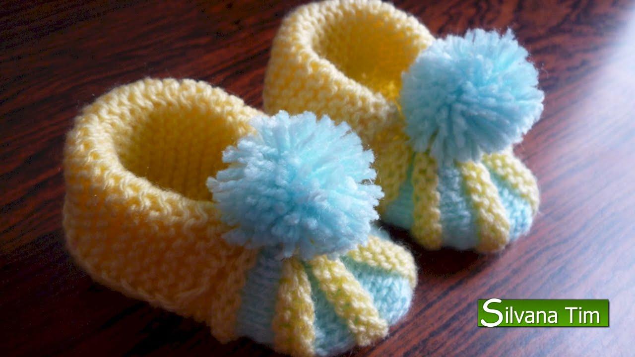 Cómo tejer ESCARPINES de bebe / PATUCOS / ZAPATITOS para bebe 🤱 Tejido con dos agujas # 123