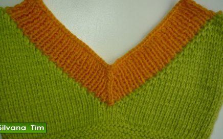 Cómo tejer ESCOTE en V o CUELLO en V. Tejido con dos agujas. Silvana Tim tejidos #190