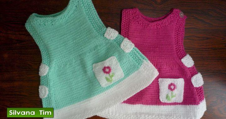 Cómo tejer VESTIDO para Bebé con Dos Agujas / Silvana Tim knitting patterns # 404