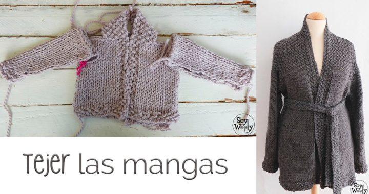 Cómo tejer chaqueta de bebé/adulto (dos agujas) PARTE III: mangas