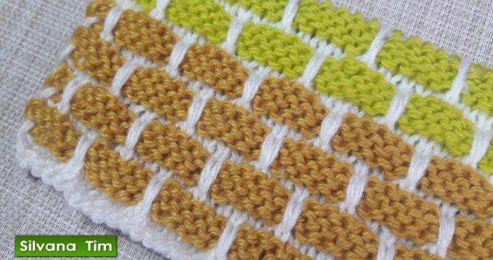 Como tejer Punto LADRILLOS de tres colores. Tejido con dos agujas / dos palitos silvana tim # 425