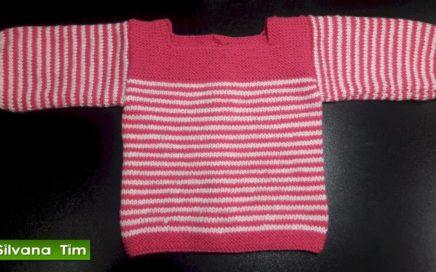Como tejer Ropa para bebes a dos agujas. CHAMBRITA con Rayas de Bebe MUY FACIL / silvana tim # 455