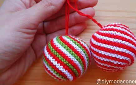 Como tejer bolas de Navidad a dos agujas paso a paso