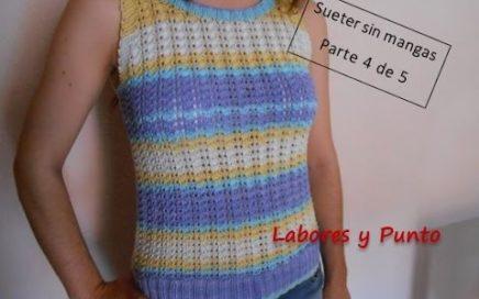 Como tejer este jersey sin mangas en dos agujas. Parte 4 de 5- Tejer cuello