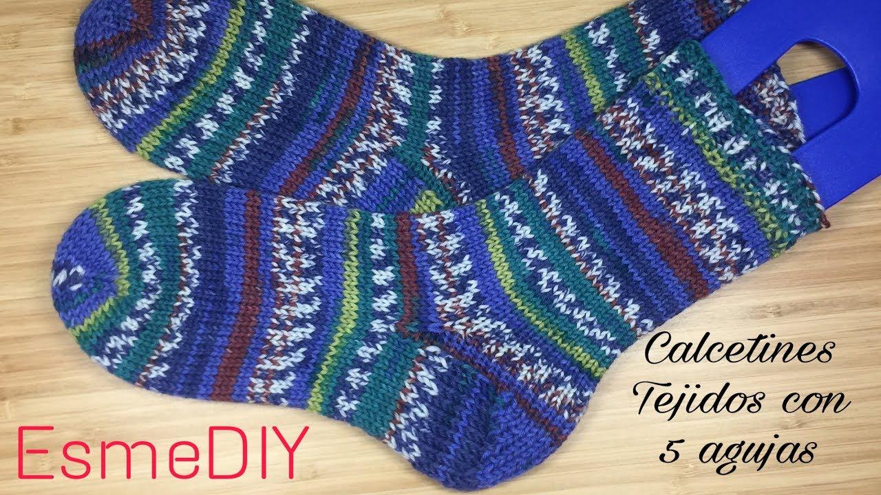 Como tejer talon de un calcetín  con 5 agujas (toe up socks) parte 2
