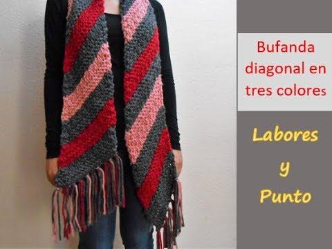 Como tejer una bufanda especial, de 3 colores en dos agujas