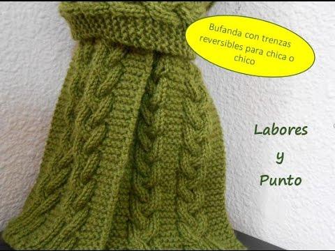 Como tejer una bufanda para hombre o mujer con trenza triple reversible en dos agujas