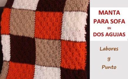 Como tejer una manta de sofá con punto teja pequeña a dos agujas-LABORES Y PUNTO-