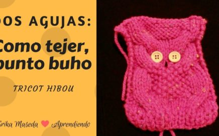 Dos agujas: Como tejer, Punto Buho.  (tricot hibou)