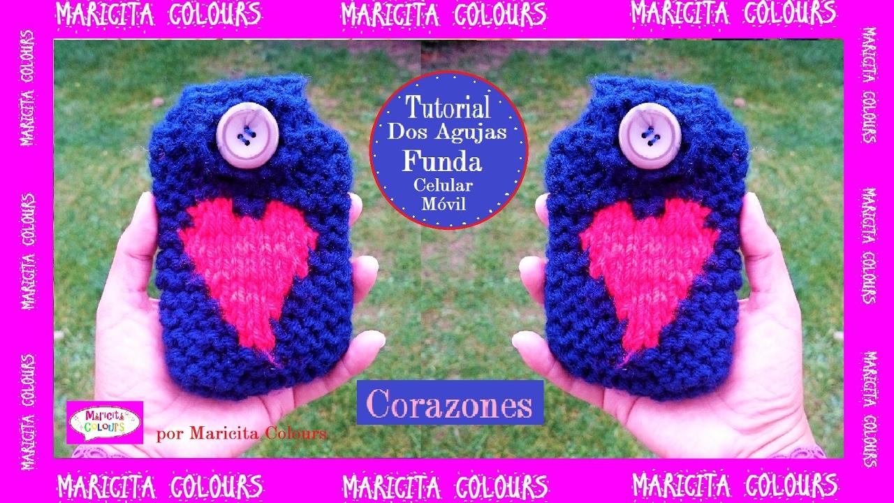 """Funda Celular, Móvil en Dos Agujas """"Corazón"""" por Maricita Colours Tutorial Gratis"""