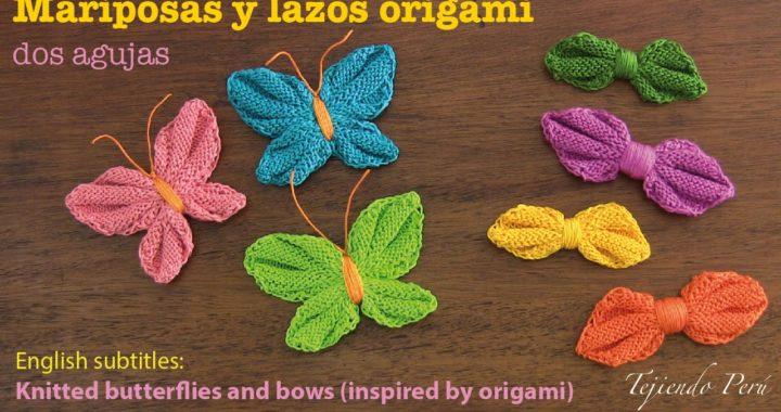 Mini tutorial # 13: mariposas y lazos origami tejidos en 2 agujas - English subtitles