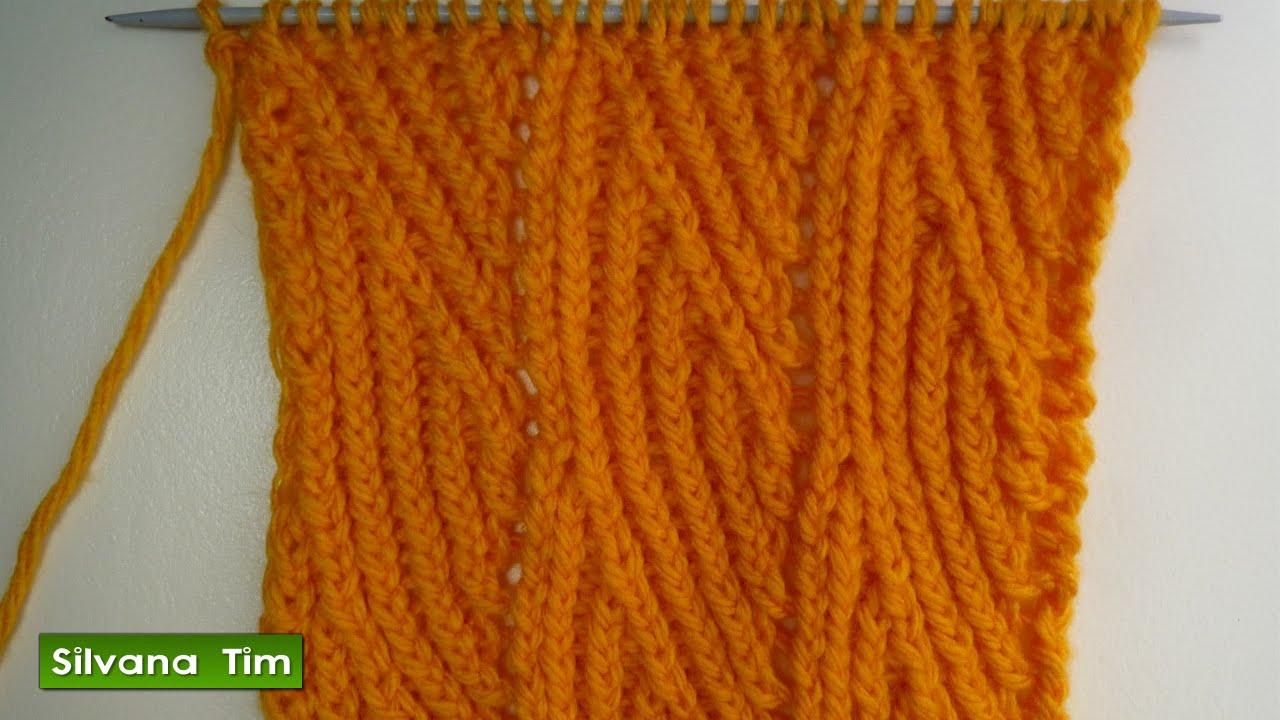 Patrón de tejido con Dos Agujas. Punto OLAS VERTICALES a dos palillos / tutorial silvana tim # 236