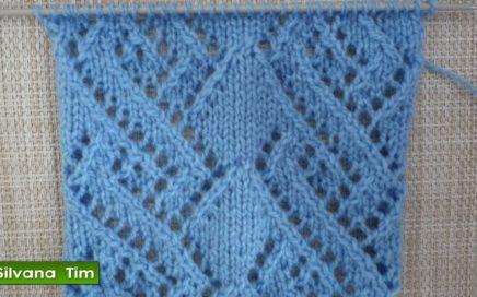 Precioso Punto (puntada) ROMBOS CALADOS. Tejido con dos agujas / silvana tim knitting tutorial # 421