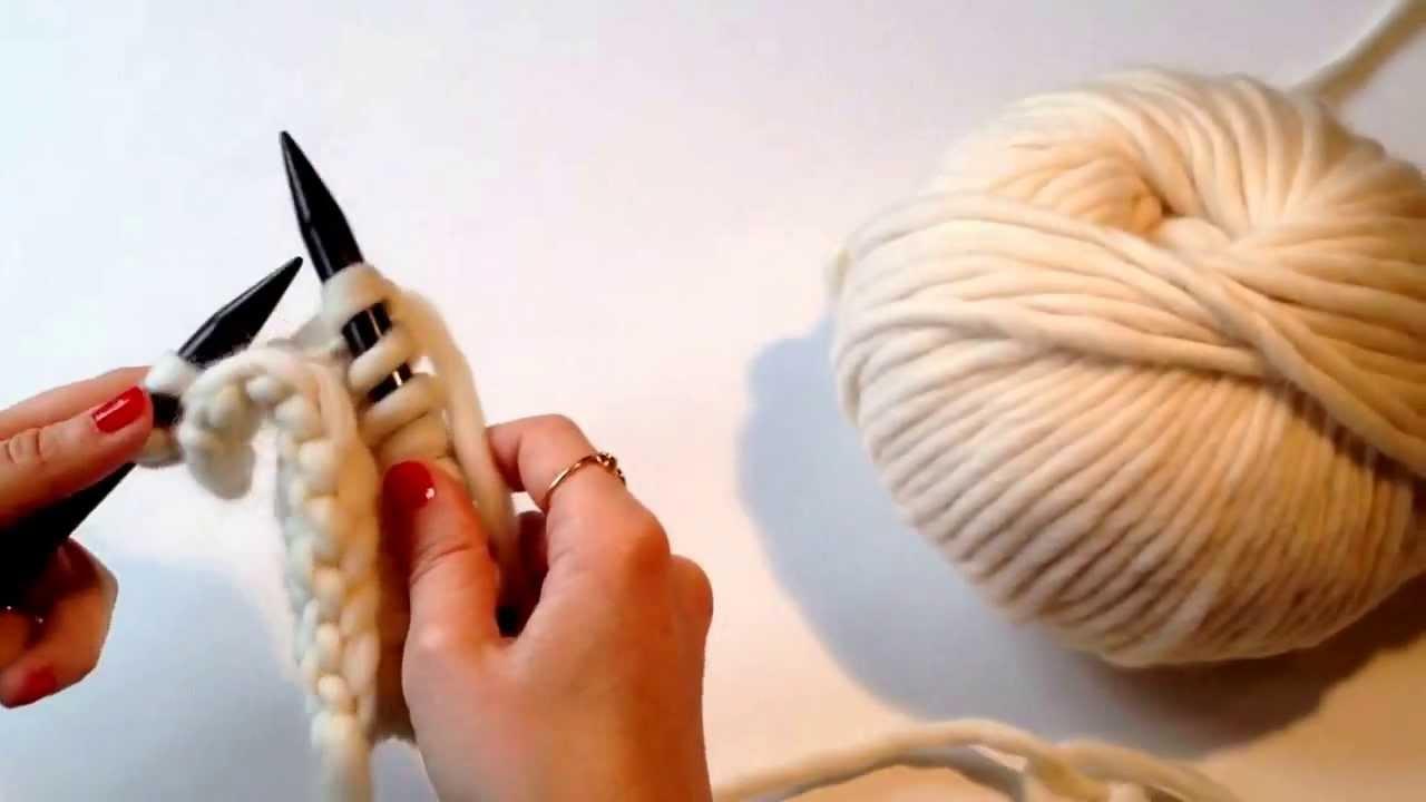 Punto de jersey. Como tejer punto de jersey con dos agujas. Knit and purl stitch. How to knit.