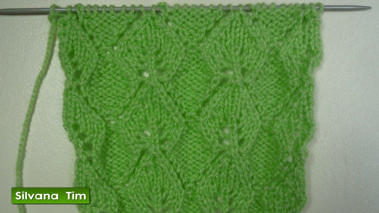 Punto (puntada) HOJAS CALADAS. Tutorial de Tejido con dos agujas / silvana tim knitting # 222