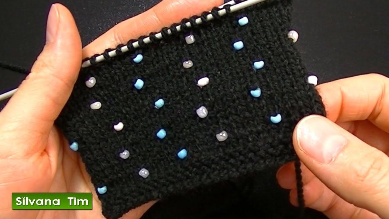 Tejer con perlas. Como agregar Perlas a tu Tejido. Incorporar Perlitas a tu tejido dos agujas # 527