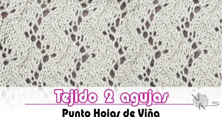 Tejido dos agujas - Como tejer el Punto viña -  How to knit the Traveling Vine stitch | tutorial
