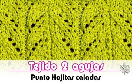 Tejido dos agujas - Punto Hojitas Caladas - How to knit Dotted leaves | Tutorial