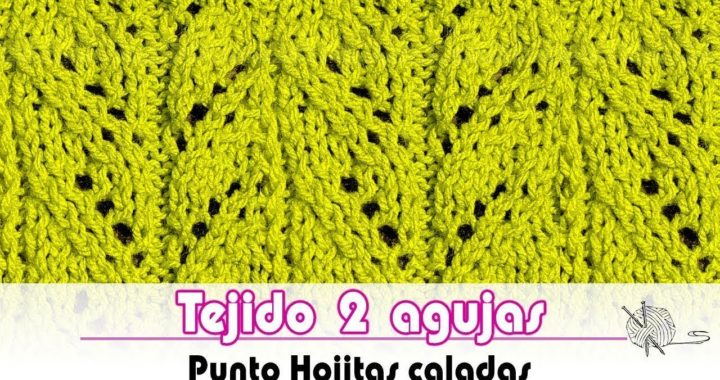 Tejido dos agujas - Punto Hojitas Caladas - How to knit Dotted leaves | Tutorial