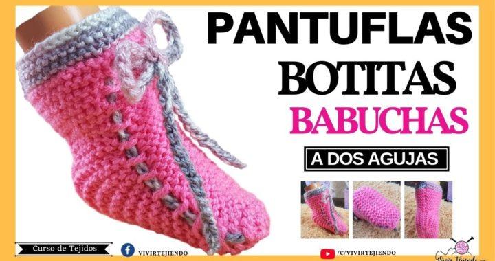 Tejiendo Pantuflas y Babucha para Mujer Niña a dos Agujas | Aprende a Tejer Pantuflas Fácil y Rapido