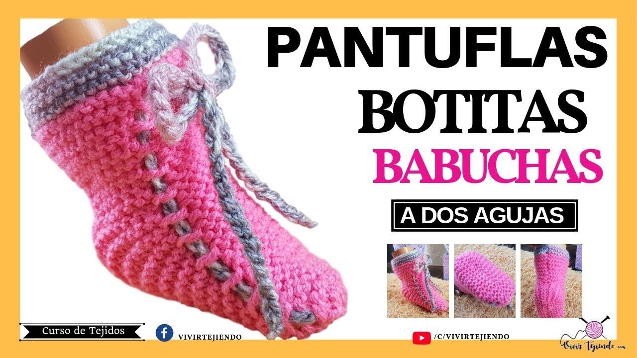 Tejiendo Pantuflas y Babucha para Mujer Niña a dos Agujas   Aprende a Tejer Pantuflas Fácil y Rapido