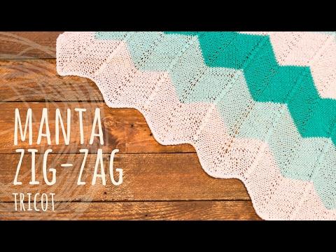 Tutorial Manta o Cobija Fácil Zig Zag Tricot | Dos Agujas