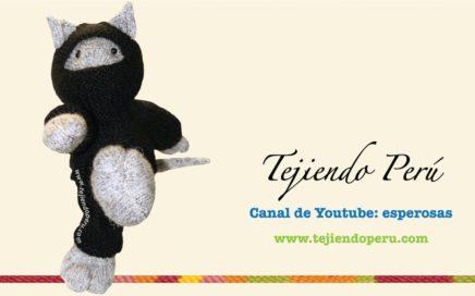 Tutoria:l cómo tejer un gato ninja en dos agujas o palitos (knitted ninja kitten tutorial)