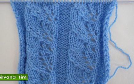 Tutorial de tejido con dos agujas # 372. Punto (puntada) HOJAS