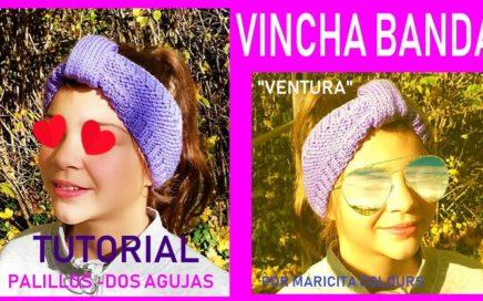 """Vincha Diadema en Dos Agujas """"Ventura"""" por Maricita Colours Tutorial Gratis"""