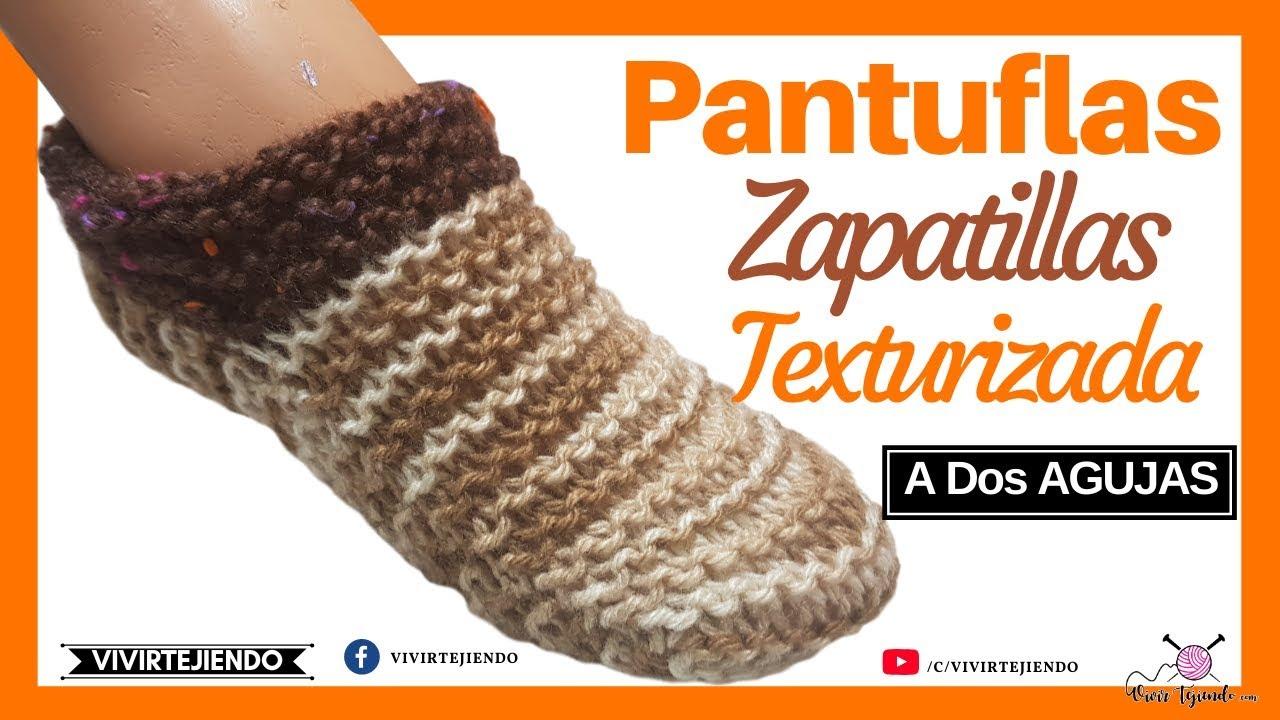 Aprender a Tejer Pantuflas Zapatillas a Dos Agujas o Palitos sin Costura con Lana Texturizada