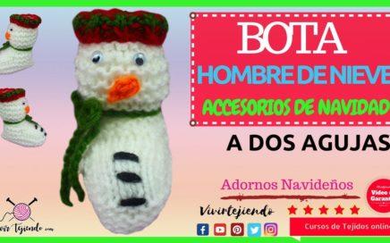 Bota hombre de nieve a dos agujas | Aprende a tejer adornos navideños