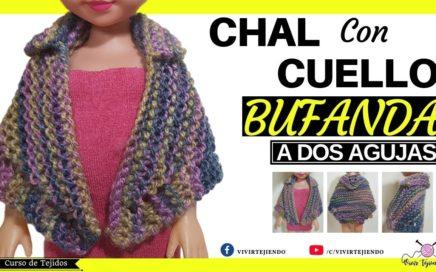 Cómo Tejer  Bufanda Chal con Cuello a Dos Agujas | Tejiendo Chaleco y Bufanda a Palillos