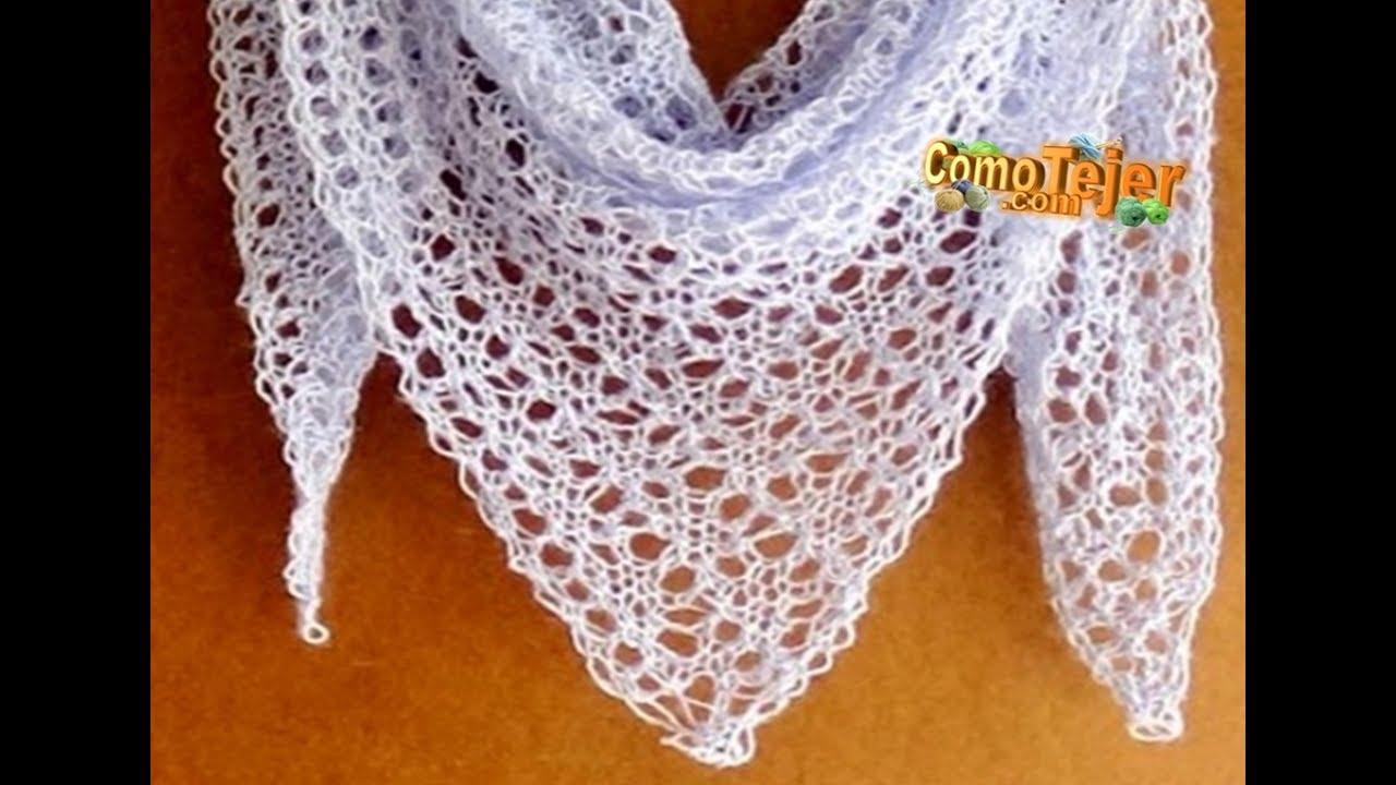 Cómo Tejer Chal de Encaje. How to Knit Lace Shawl,  2 agujas (309)