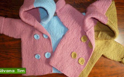 Cómo tejer ABRIGO de Bebe o CHAQUETITA CHOMPA con Capucha para Bebés ✅ Tejidos con dos agujas # 356