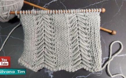 Cómo tejer Punto Pinos. TEJIDO fácil CON DOS AGUJAS # 876