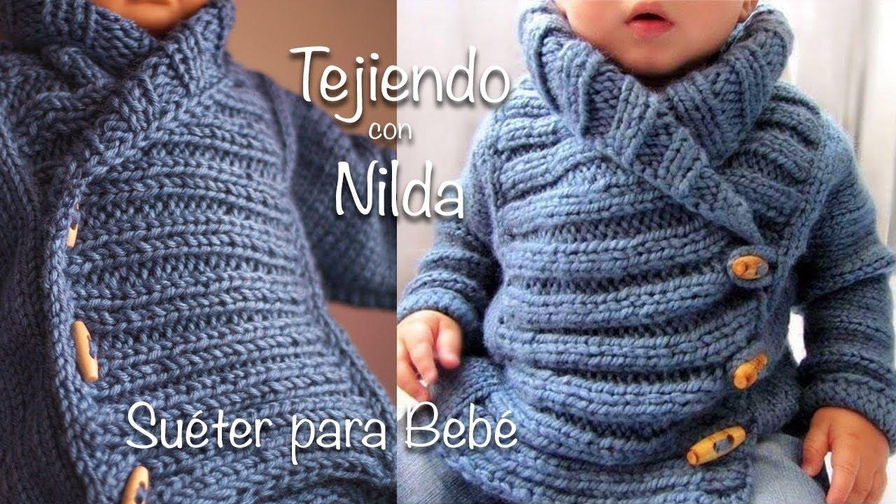 Cómo tejer suéter para Bebé (dos agujas) / How to knit baby sweater