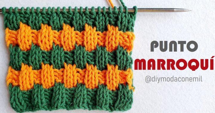 Como tejer Punto Marroquí a dos agujas paso a paso